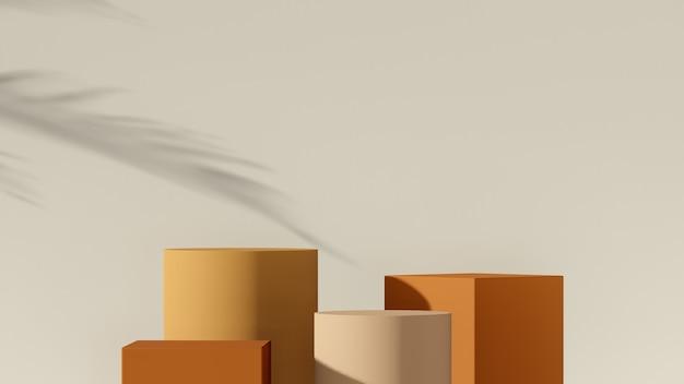 3d 렌더링 이미지 가을 색상 팔레트와 prod용 깨진 흰색 배경이 있는 여러 모양 연단