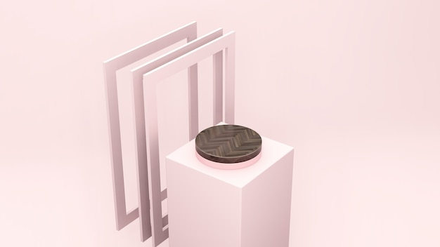 3d render image bird eye perspective view brown wood texture podium with light pink frame background