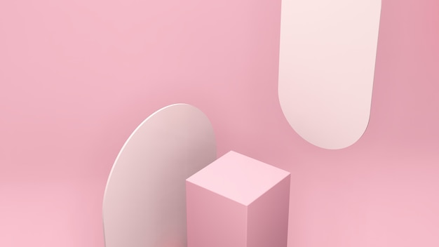 3d render image bird eye perspective view pink podium with light pink background for product display