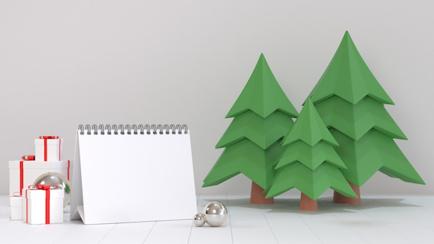 3d render image of blank calendar paper for next year goal decorate with christmas ornament scenes.