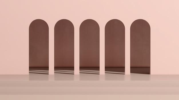 ピンクの背景の製品表示広告と3dレンダリング画像茶色の床の表彰台