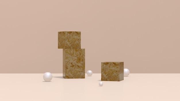 3d 렌더링 이미지 갈색 바닥 연단과 나무 블록 갈색 배경 생성물 디스플레이 광고