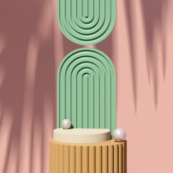 3d визуализация изображения коричневый подиум с зеленым розовым фоном реклама продукта