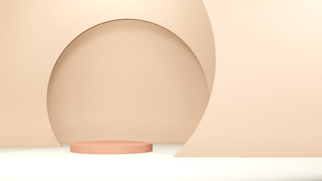 3d визуализация коричневого подиума со светло-коричневым фоном для осенней рекламы продукта