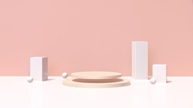3d визуализация изображения коричневый подиум с розовым фоном реклама продукта