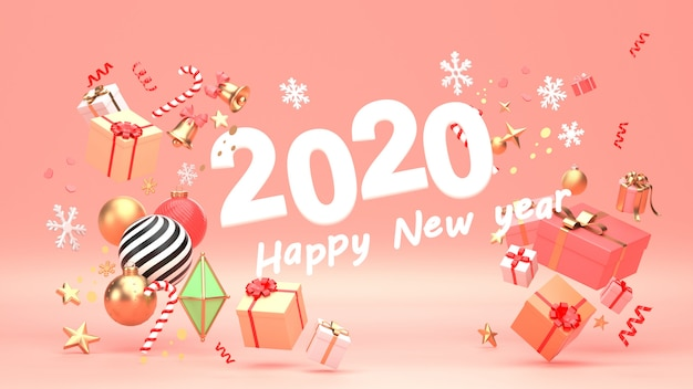 3d render image of christmas new year ornament isolate on copy space background.