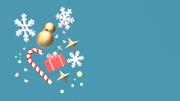 3d render image of christmas new year ornament isolate on copy space blue background.