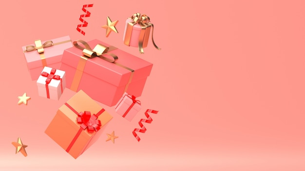 3d render image of christmas new year ornament isolate on copy space pink background.