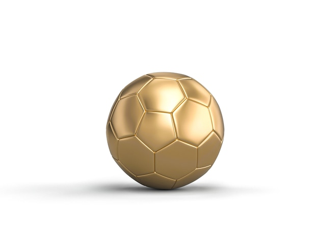 3d render image of classic soccer ball gold color on white