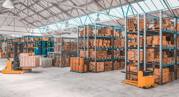 3d render image of a concrete storage warehouse with pallets and shelves