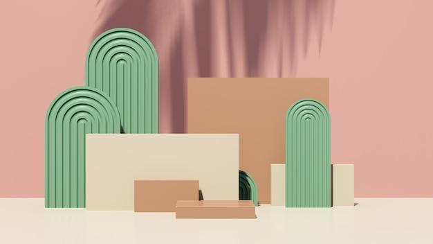 3d визуализация кремового коричневого подиума с зеленым розовым фоном реклама продукта