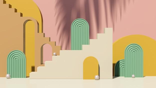 3d визуализация изображения кремовый коричневый подиум лестницы с зеленым розовым фоном реклама продукта