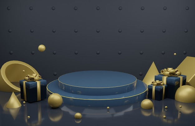 3d render image of dark blue podium display