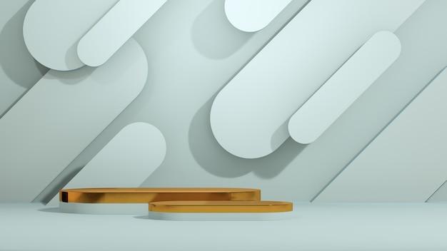 파란색 배경을 가진 3d 렌더링 이미지 금 연단 추상 모양 제품 디스플레이 광고
