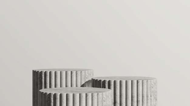 3dレンダリング画像灰色の大理石の表彰台と白い背景の製品ディスプレイ広告