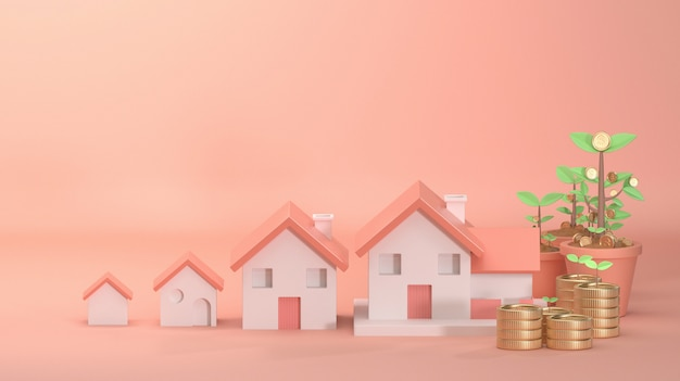 3d render image of house growing on beautiful pink background decorate with tree tree coin money.