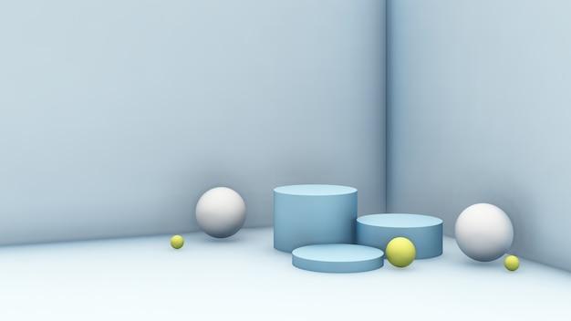 제품 디스플레이를 위한 공 및 밝은 파란색 배경이 있는 3d 렌더링 이미지 연한 파란색 연단