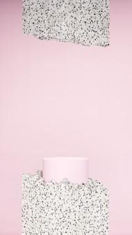 製品表示用のピンクの壁とテラゾテクスチャの背景を持つ3dレンダリング画像の淡いピンクの表彰台