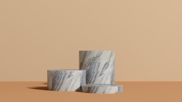 3d визуализация мраморный подиум с коричневым фоном реклама продукта