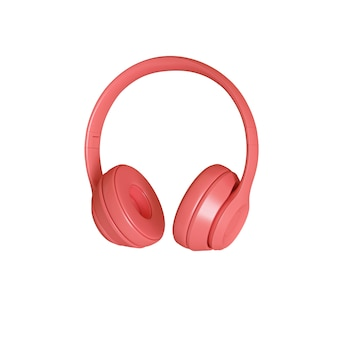 3d render image of modern coral-colored audio headphones