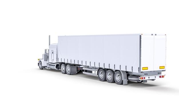 흰색 타포린 트럭의 3d 렌더링 이미지입니다. 주위에 아무도 없습니다.