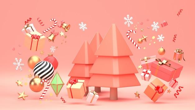 3d представляют изображение дизайна рождественской елки на праздник рождества украшают формой и giftbox орнамента геометрическими.