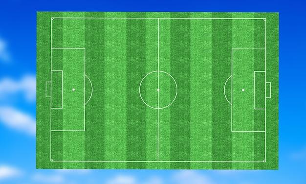 3d визуализация изображения зеленого футбольного поля, футбола