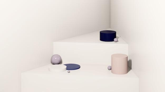 흰색 배경 제품 디스플레이 광고가 있는 3d 렌더링 이미지 분홍색과 파란색 연단