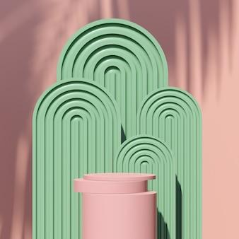 3d визуализация изображения розовый подиум с зеленым розовым фоном реклама продукта