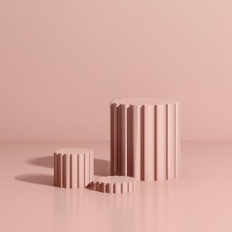 3d визуализация изображения розовый подиум с розовым фоном реклама продукта