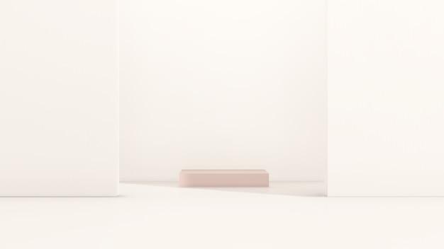 흰색 배경 제품 디스플레이 광고가 있는 3d 렌더링 이미지 분홍색 연단