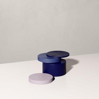 흰색 배경 제품 디스플레이 광고가 있는 3d 렌더링 이미지 보라색과 파란색 연단