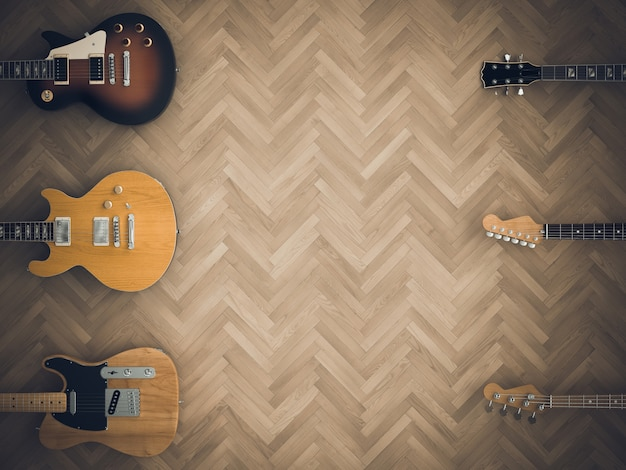 3d render image of a series of electric guitars on wooden floor.