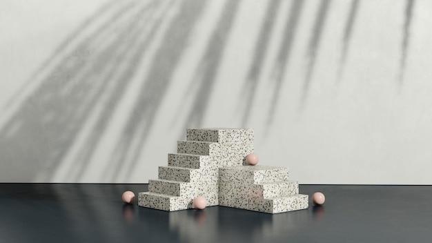 분홍색 공과 흰색 배경 제품 디스플레이 광고가 있는 3d 렌더링 이미지 테라조 연단