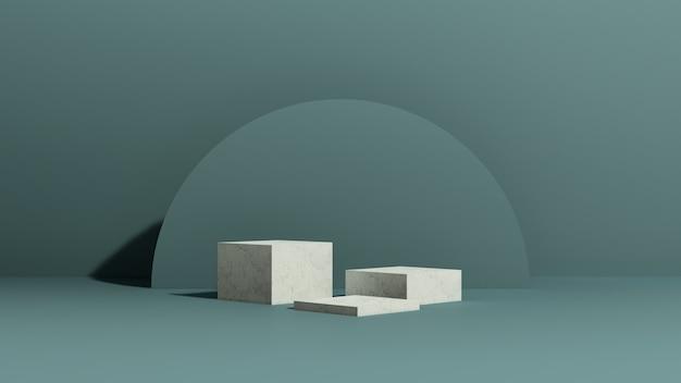 3d 렌더링 이미지 파란색 배경 추상 모양 제품 디스플레이가 있는 흰색 대리석 연단