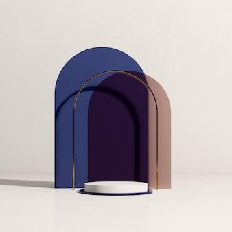 분홍색 및 파란색 배경 제품 디스플레이 광고가 있는 3d 렌더링 이미지 흰색 연단