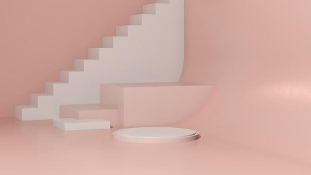 ピンクの背景の製品表示広告と3dレンダリング画像白い表彰台