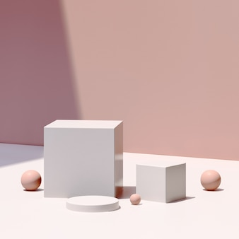 3d визуализация изображения белый подиум с розовым фоном реклама продукта