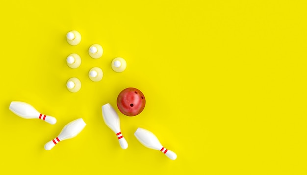 3d render image with bowling, ball and skittles on a yellow background
