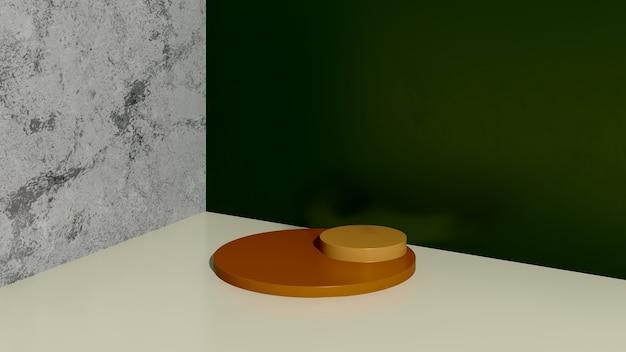 緑と大理石の背景の製品表示広告と3dレンダリング画像黄色の表彰台
