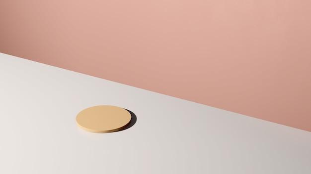 3d 렌더링 이미지 분홍색 배경 제품 디스플레이 광고가 있는 노란색 연단