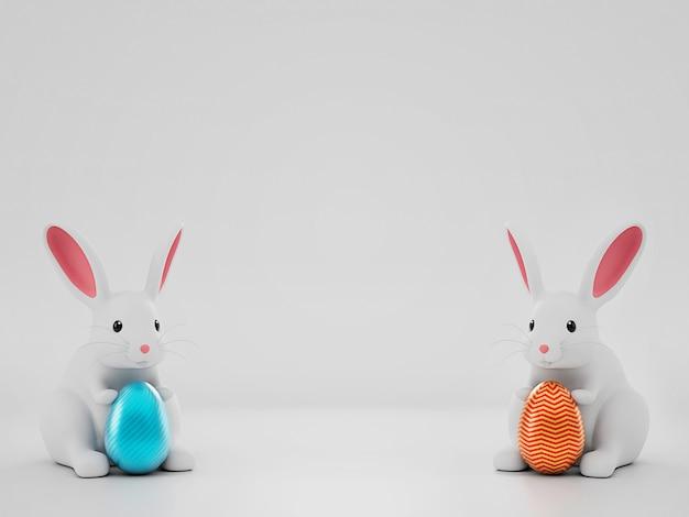 3d render image пасхальный заяц кролик держит пасхальное яйцо