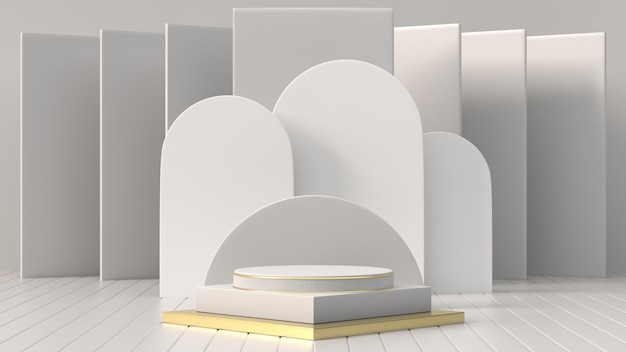 3d render images abstract geometric , cylinder podium, minimalistic primitive shapes, modern mock up, blank template, mesh, empty showcase, shop display