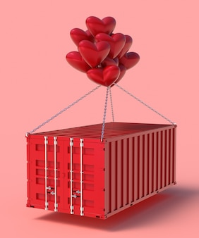 3d render import and export hearts in containers
