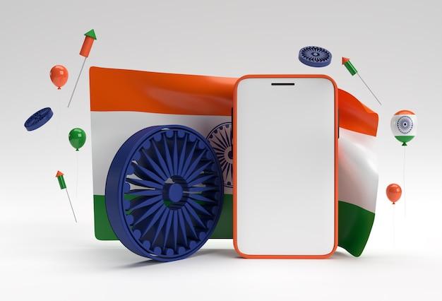 3d render india flag with smartphone mockup design.