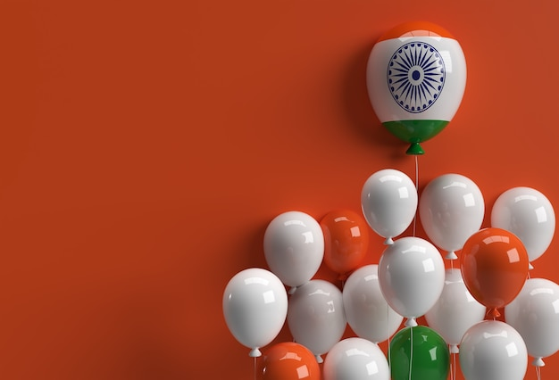 3d render india independence day banner india flag air balloons.