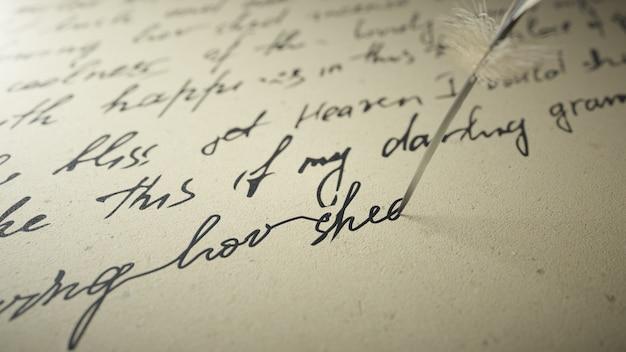 3d render ink pen writes poetry on old paper