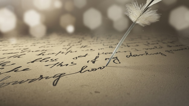 3d render ink pen writes poetry on old paper
