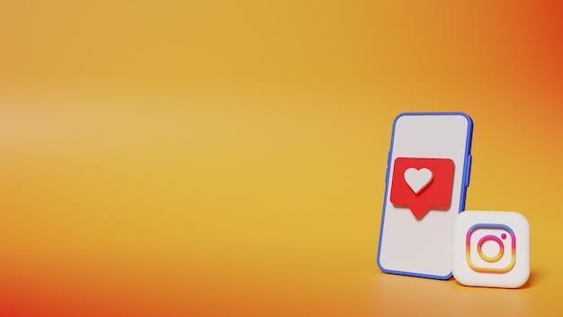 전화 화면 배경에 사랑 알림이있는 3d 렌더링 인스 타 그램 로고 버튼