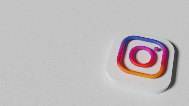 3d 렌더링 instagram 최소한의 로고.